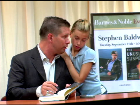 stephen baldwin and daughter at the book signing by stephen baldwin of 'the unusual suspect: my calling to the new hardcore movement of faith' at... - stephen baldwin stock-videos und b-roll-filmmaterial