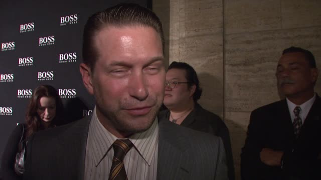 stephen baldwin on what brings him out tonight, what about hugo boss clothing that makes him a fan, the best style advice he has either given or... - stephen baldwin stock-videos und b-roll-filmmaterial