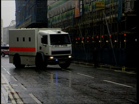 kenneth noye trial england london ext prison van bringing kenneth noye to court for trial for murder of stephen cameron pan - murder stock videos & royalty-free footage