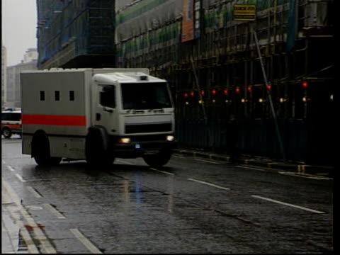 noye trial england london prison van bringing kenneth noye to court for trial for murder of stephen cameron pan lib - kenneth noye stock videos & royalty-free footage