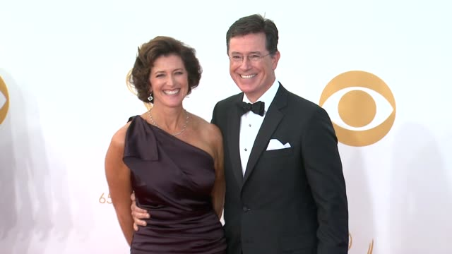stephen colbert and evelyn mcgee at 65th annual primetime emmy awards - arrivals stephen colbert and evelyn mcgee at 65th annual at nokia theatre... - annual primetime emmy awards stock-videos und b-roll-filmmaterial
