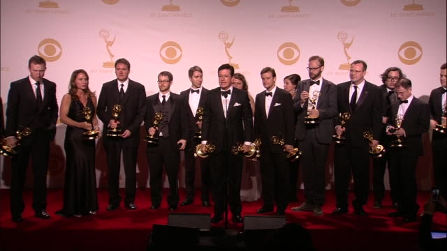 stephen colbert and on stage with his staff after winning a 2013 emmy award. - emmy awards stock videos & royalty-free footage
