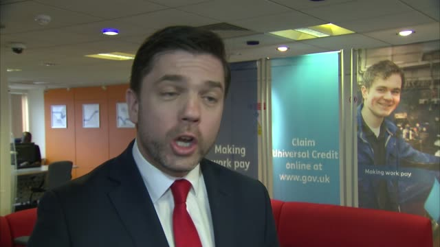 stephen crabb visit to job centre; crabb interview sot / crabb chatting to staff - job centre stock videos & royalty-free footage
