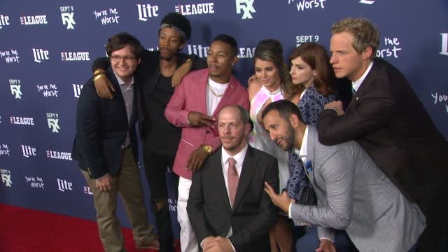 Stephen Falk Chris Geere Aya Cash Kether Donohue Desmin Borges Allen Maldonado Allan McLeod and Darrell BrittGibson at the Premiere of FXX's The...