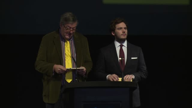 stephen fry and sam claflin announce the nominees at the ee bafta nomination announcement on 9th january 2014 in london, england. - stephen fry stock videos & royalty-free footage