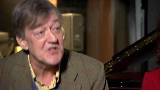 stephen fry collaborates with composer debbie wiseman in retelling of greek myths; england: london: int reporter asking question stephen fry and... - stephen fry stock videos & royalty-free footage
