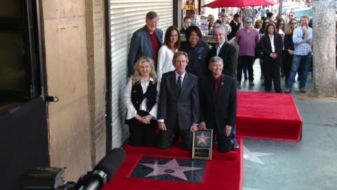 stephen fry, diane farr, hugh laurie, david shore, pepper mashay, leron gubler at hugh laurie honored with star on the hollywood walk of fame on... - hugh laurie stock videos & royalty-free footage