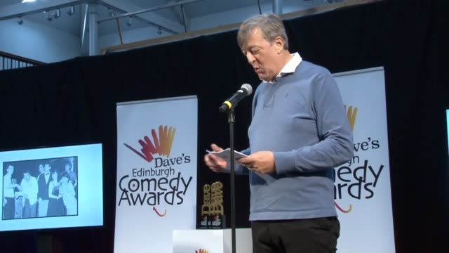 stephen fry has said the edinburgh fringe is staggeringly exciting as he announced jordan brookes as the winner of the best comedy show brookes was... - stephen fry stock videos & royalty-free footage