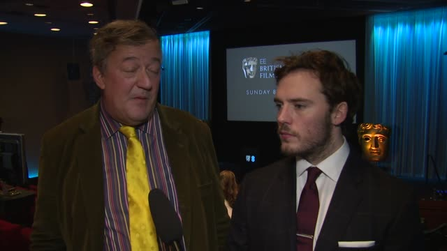 interview stephen fry on the prestige of the bafta awards on the attacks on charlie hebdo the importance of freedom of speech at ee bafta nomination... - スティーブン フライ点の映像素材/bロール