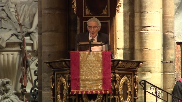 stephen hawking memorial service uk london westminster abbey martin rees eulogy part 3 london westminster westminster abbey int martin rees... - eulogy stock videos & royalty-free footage