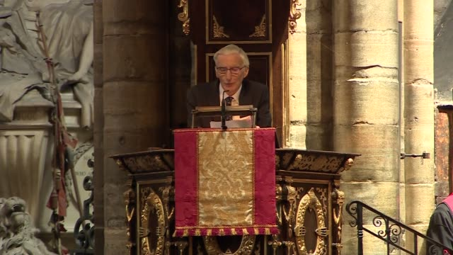 stephen hawking memorial service uk london westminster abbey martin rees eulogy part 2 london westminster westminster abbey int martin rees... - eulogy stock videos & royalty-free footage
