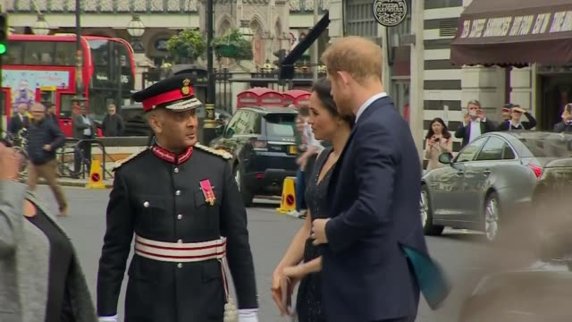 prince harry and meghan markle attend memorial service arrival and departure england london st martininthefields ext prince harry and fiancée meghan... - 25th anniversary stock videos & royalty-free footage