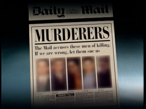 daily mail accuse five men on front page graphic daily mail article and editorial - murder stock videos & royalty-free footage