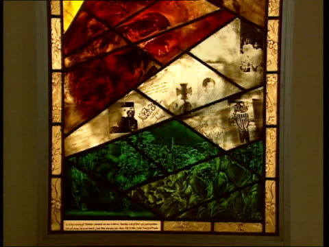 No further charges LIB Eltham GV inside church CMS stained glass window depicting the life of Stephen Lawrence TILT UP Doreen Lawrence and Neville...