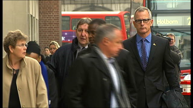 Day 3 ENGLAND London Old Bailey EXT Duwayne Brooks arriving at court with Brian Paddick and others
