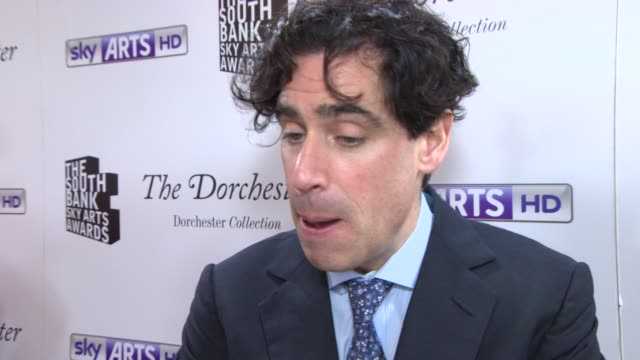 INTERVIEW Stephen Mangan on the Sky Arts Award and the new series of Episodes and Postman Pat at South Bank Sky Arts Award at Dorchester Hotel on...