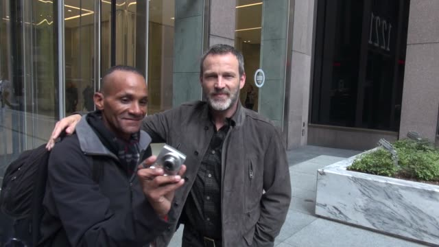 stephen moyer, promoting 'the bastard executioner' tv series leaving siriusxm satellite radio & poses for photos with fans in celebrity sightings in... - executioner stock videos & royalty-free footage