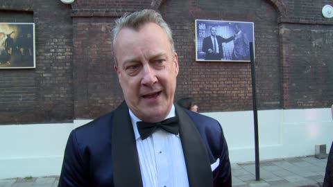 stephen tompkinson on kevin spacey, the old vic and mobile phones at gala celebration in honour of kevin spacey on 19th april 2015 in london, england. - stephen tompkinson stock videos & royalty-free footage