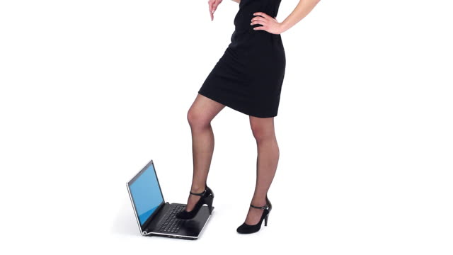 stepping on laptop - black dress stock videos & royalty-free footage