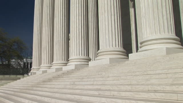 cu, ds, steps and column bottoms of united states supreme court building, washington, dc, washington, usa - us supreme court building stock videos & royalty-free footage
