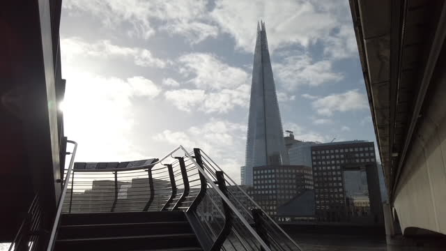 steps and the shard building ahead of a national u.k. lockdown in the city of london, london, uk. on monday, november 2, 2020. the three tier system... - back lit stock videos & royalty-free footage