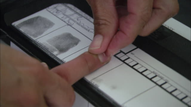 cu steps in the finger printing process / corpus christi, texas, united states - fingerabdruck stock-videos und b-roll-filmmaterial