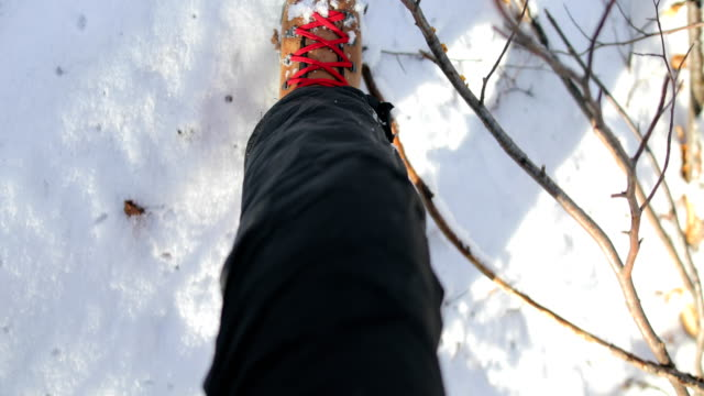 steps in the snow on the mountain - barefoot stock videos & royalty-free footage
