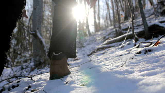 vídeos de stock e filmes b-roll de steps in the snow on the mountain.lost in the forest - pegada