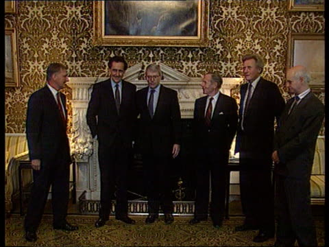 Sterling crisis imminent INT Admiralty MS PM John Major MP poses for camera with House members of European Employers Federation and Michael Heseltine...