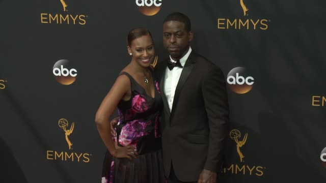 sterling k. brown and ryan michelle bathe at 68th annual primetime emmy awards - arrivals in los angeles, ca 9/18/16 - red carpet event stock videos & royalty-free footage