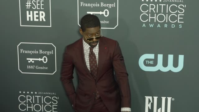 sterling k brown at the 25th annual critics' choice awards at barker hangar on january 12 2020 in santa monica california - gif stock videos and b-roll footage