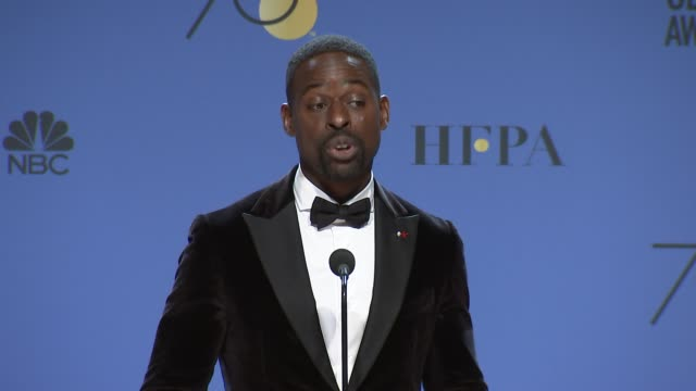 speech sterling k brown at the 75th annual golden globe awards press room at the beverly hilton hotel on january 07 2018 in beverly hills california - golden globe awards stock videos & royalty-free footage