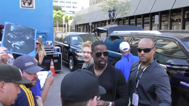 Sterling K Brown greets fans on Day 1 of 2018 ComicCon in San Diego in Celebrity Sightings at ComicCon San Diego