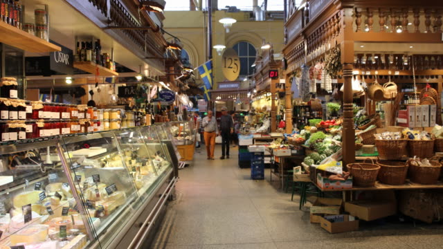 östermalms saluhall in stockholm, sweden - european culture stock videos & royalty-free footage