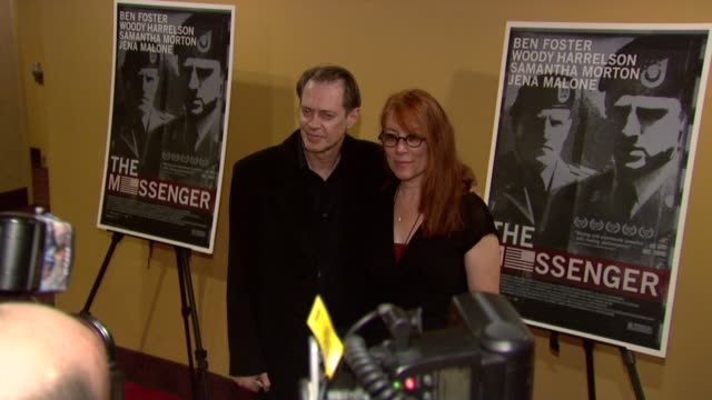 steve buscemi and jo andres at the 'the messenger' new york premiere at new york ny. - steve buscemi stock videos & royalty-free footage