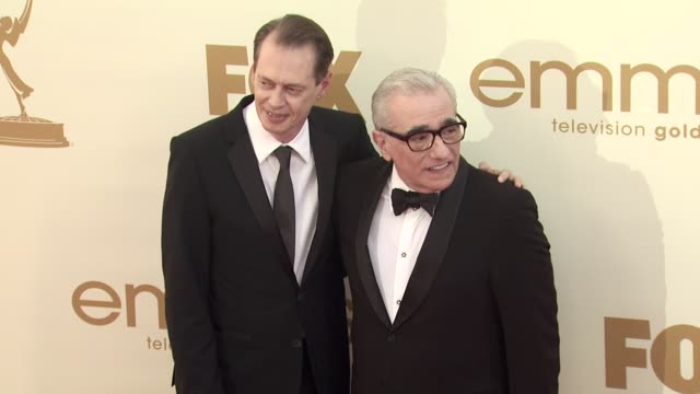 steve buscemi and martin scorsese at the 63rd primetime emmy awards arrivals part 2 at los angeles ca - 63rd annual primetime emmy awards stock videos and b-roll footage