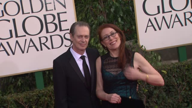 steve buscemi jo andres at 70th annual golden globe awards arrivals 1/13/2013 in beverly hills ca - steve buscemi stock videos and b-roll footage