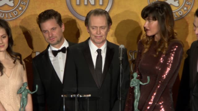 steve buscemi on the shenanigans of politicians on the news at the 17th annual screen actors guild awards press room at los angeles ca - steve buscemi stock videos & royalty-free footage