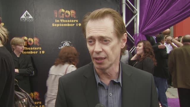 steve buscemi on what attracted him to this film, on if it's challenging to use only your voice for a role, and on why people should see the film, at... - steve buscemi stock videos & royalty-free footage