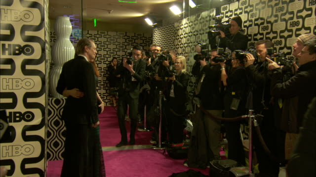 steve buscemi w/wife jo andres posing for paparazzi on the red carpet at circa 55 restaurant - steve buscemi stock videos and b-roll footage