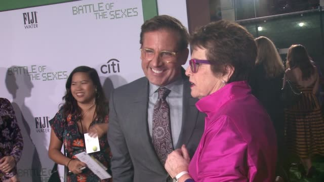 steve carell and billie jean king at battle of the sexes los angeles premiere presented by fox searchlight at regency village theatre on september 16... - regency village theater stock videos & royalty-free footage