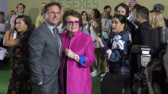 steve carell and billie jean king at the battle of the sexes los angeles premiere presented by fox searchlight at regency village theatre on... - regency village theater stock videos & royalty-free footage