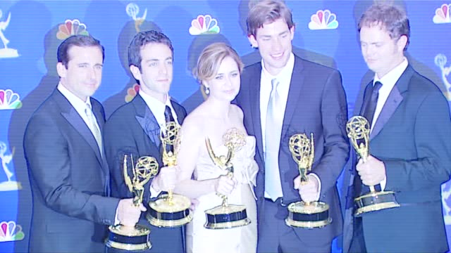 steve carell and cast of 'the office' winner outstanding comedy series at the 2006 emmy awards press room at the shrine auditorium in los angeles... - cast member stock videos & royalty-free footage
