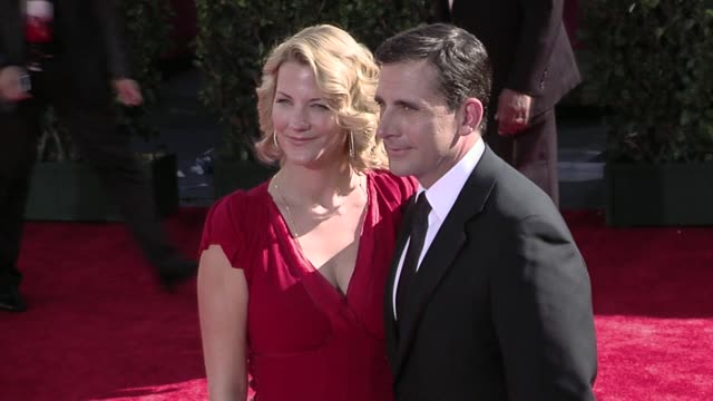 steve carell and nancy carell at the 61st annual primetime emmy awards - arrivals part 3 at los angeles ca. - annual primetime emmy awards stock videos & royalty-free footage