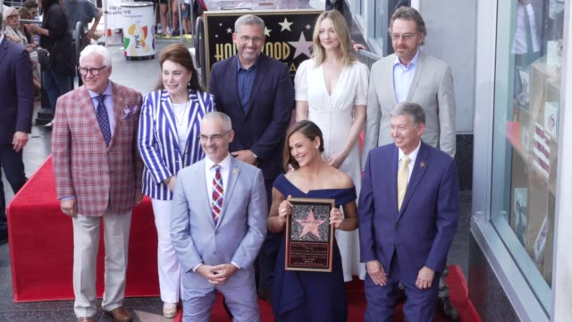 steve carell, jennifer garner, judy greer and bryan cranston at the jennifer garner honored with a star on the hollywood walk of fame on august 20,... - walk of fame stock videos & royalty-free footage