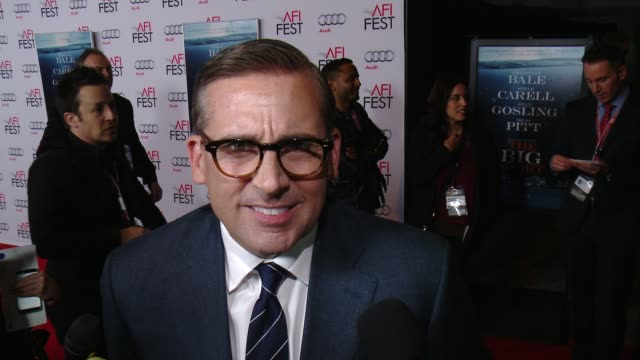 """stockvideo's en b-roll-footage met steve carell on being at the premiere at """"the big short"""" world premiere closing night gala screening - afi fest 2015 at tcl chinese theatre on... - filmscreening"""