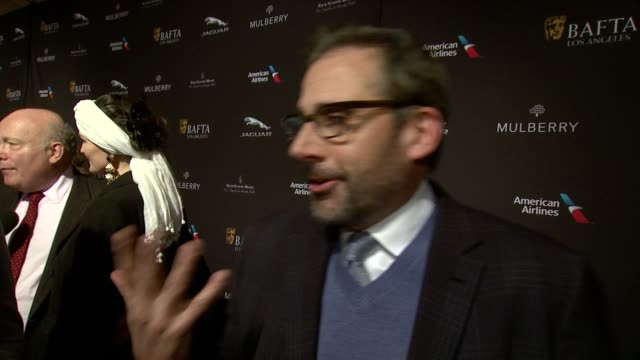 interview steve carell on being recognized by bafta on being at the event on what makes the bafta tea party one of the most prestigious events of the... - golden globe awards stock videos and b-roll footage