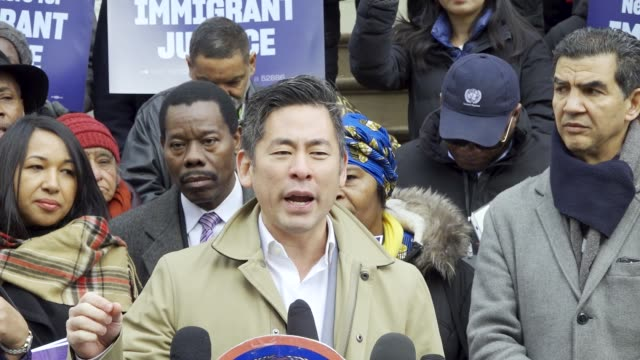steve choi - executive director of the new york immigration coalition . new york city council member ydanis rodriguez, lawmakers, and immigrant... - executive director stock videos & royalty-free footage