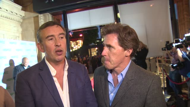 steve coogan and rob brydon on why they love michael caine and 'the trip' at a night out with… sir michael caine - steve coogan stock videos & royalty-free footage
