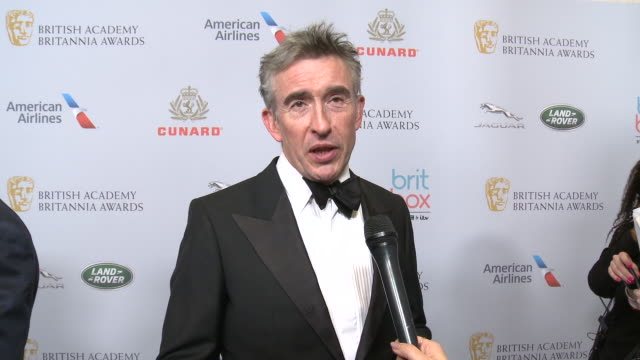 steve coogan on the event and being honored at the 2019 british academy britannia awards presented by american airlines and jaguar land rover in los... - steve coogan stock videos & royalty-free footage